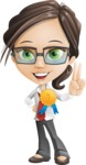 Little Business Girl Cartoon Vector Character AKA Nikki the Cute Geeky - Ribbon