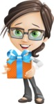 Little Business Girl Cartoon Vector Character AKA Nikki the Cute Geeky - Gift