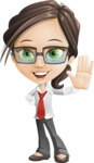 Little Business Girl Cartoon Vector Character AKA Nikki the Cute Geeky - Wave