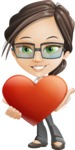 Little Business Girl Cartoon Vector Character AKA Nikki the Cute Geeky - Love