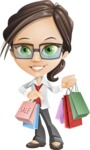 Little Business Girl Cartoon Vector Character AKA Nikki the Cute Geeky - woman vector female cartoon character design - shopping bags