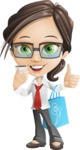 Little Business Girl Cartoon Vector Character AKA Nikki the Cute Geeky - Sale2