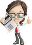 Little Business Girl Cartoon Vector Character AKA Nikki the Cute Geeky - Calculator