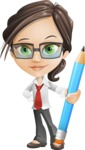 Little Business Girl Cartoon Vector Character AKA Nikki the Cute Geeky - Pencil