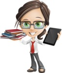 Little Business Girl Cartoon Vector Character AKA Nikki the Cute Geeky - Book and iPad