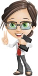 Little Business Girl Cartoon Vector Character AKA Nikki the Cute Geeky - iPad1