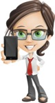 Little Business Girl Cartoon Vector Character AKA Nikki the Cute Geeky - iPhone