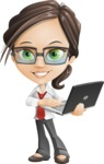Little Business Girl Cartoon Vector Character AKA Nikki the Cute Geeky - Laptop1
