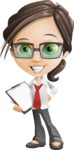 Little Business Girl Cartoon Vector Character AKA Nikki the Cute Geeky - Notepad2