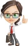 Little Business Girl Cartoon Vector Character AKA Nikki the Cute Geeky - Briefcase1