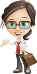 Little Business Girl Cartoon Vector Character AKA Nikki the Cute Geeky - Briefcase2