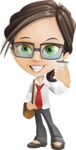 Little Business Girl Cartoon Vector Character AKA Nikki the Cute Geeky - Travel2