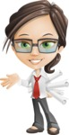 Little Business Girl Cartoon Vector Character AKA Nikki the Cute Geeky - Plans