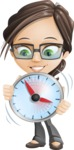 woman vector female cartoon character - Nikki - woman vector female cartoon character design - showing clock time