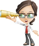 Little Business Girl Cartoon Vector Character AKA Nikki the Cute Geeky - Telescope