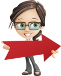 Little Business Girl Cartoon Vector Character AKA Nikki the Cute Geeky - Pointer2