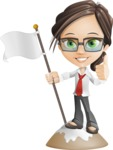 Little Business Girl Cartoon Vector Character AKA Nikki the Cute Geeky - On Top