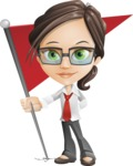 Little Business Girl Cartoon Vector Character AKA Nikki the Cute Geeky - Checkpoint