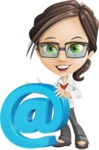 Little Business Girl Cartoon Vector Character AKA Nikki the Cute Geeky - woman vector female cartoon character design - email communication