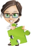 Little Business Girl Cartoon Vector Character AKA Nikki the Cute Geeky - Puzzle