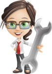 Little Business Girl Cartoon Vector Character AKA Nikki the Cute Geeky - Repair
