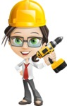 Little Business Girl Cartoon Vector Character AKA Nikki the Cute Geeky - Under Construction2