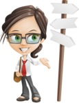 Little Business Girl Cartoon Vector Character AKA Nikki the Cute Geeky - Crossroad