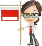 Little Business Girl Cartoon Vector Character AKA Nikki the Cute Geeky - Sign9