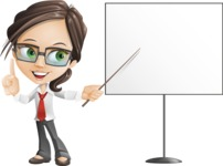 Little Business Girl Cartoon Vector Character AKA Nikki the Cute Geeky - woman vector female cartoon character design - presentation board