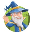 Wizard with a Hat Cartoon Vector Character AKA Waldo the Wise Wizard - Shape 1