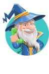 Wizard with a Hat Cartoon Vector Character AKA Waldo the Wise Wizard - Shape 2