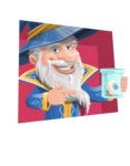 Wizard with a Hat Cartoon Vector Character AKA Waldo the Wise Wizard - Shape 3