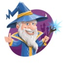 Wizard with a Hat Cartoon Vector Character AKA Waldo the Wise Wizard - Shape 4