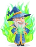Wizard with a Hat Cartoon Vector Character AKA Waldo the Wise Wizard - Shape 7