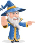 Wizard with a Hat Cartoon Vector Character AKA Waldo the Wise Wizard - Direct Attention 1