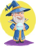 Wizard with a Hat Cartoon Vector Character AKA Waldo the Wise Wizard - Shape 11