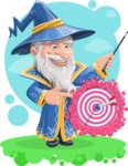 Wizard with a Hat Cartoon Vector Character AKA Waldo the Wise Wizard - Shape 12