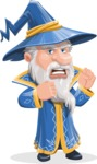 Wizard with a Hat Cartoon Vector Character AKA Waldo the Wise Wizard - Angry