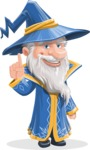 Wizard with a Hat Cartoon Vector Character AKA Waldo the Wise Wizard - Attention