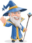 Wizard with a Hat Cartoon Vector Character AKA Waldo the Wise Wizard - Hello
