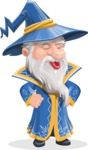 Wizard with a Hat Cartoon Vector Character AKA Waldo the Wise Wizard - Making Face