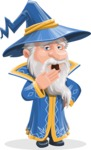 Wizard with a Hat Cartoon Vector Character AKA Waldo the Wise Wizard - Bored 1