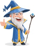 Wizard with a Hat Cartoon Vector Character AKA Waldo the Wise Wizard - Thumbs Up