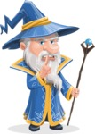 Wizard with a Hat Cartoon Vector Character AKA Waldo the Wise Wizard - Quiet