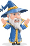 Wizard with a Hat Cartoon Vector Character AKA Waldo the Wise Wizard - Scared 1