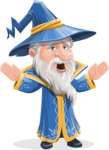 Wizard with a Hat Cartoon Vector Character AKA Waldo the Wise Wizard - Scared 2