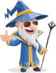 Wizard with a Hat Cartoon Vector Character AKA Waldo the Wise Wizard - Sunglasses