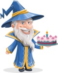 Wizard with a Hat Cartoon Vector Character AKA Waldo the Wise Wizard - With Cake