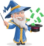 Wizard with a Hat Cartoon Vector Character AKA Waldo the Wise Wizard - Money