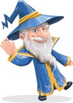 Wizard with a Hat Cartoon Vector Character AKA Waldo the Wise Wizard - Wave